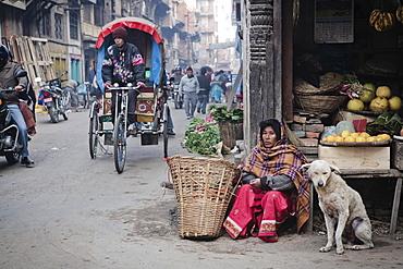 Fruit seller on Kathmandu street, Kathmandu, Nepal, Asia