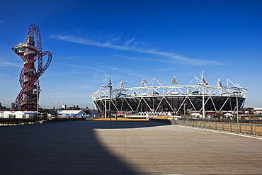 The Olympic Stadium with The Arcelor Mittal Orbit viewed from Stratford Way, London, England, United Kingdom, Europe