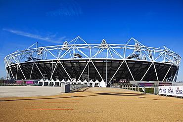 The Olympic Stadium viewed from Stratford Way, London, England, United Kingdom, Europe