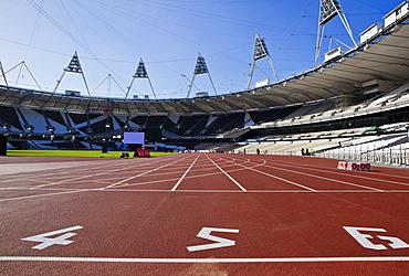 The start line of the 100m inside The Olympic Stadium, London, England, United Kingdom, Europe
