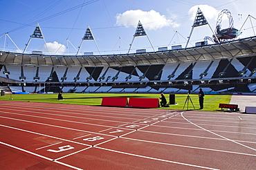 The finishing line of the athletics track inside The Olympic Stadium, London, England, United Kingdom, Europe