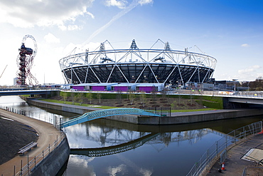 The Olympic Stadium with The Arcelor Mittal Orbit and the River Lee, London, England, United Kingdom, Europe