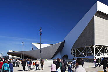 The entrance to the the Aquatics Centre in the Olympic Park during the Gold Challenge event, London, England, United Kingdom, Europe
