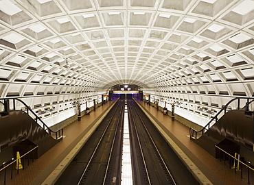 Foggy Bottom Metro station platform, part of the Washington D.C. metro system, Washington D.C., United States of America, North America