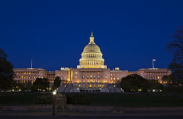 The United States Capitol Complex, the Capitol and the Senate Building showing  current renovation work, Washington D.C., United States of America, North America