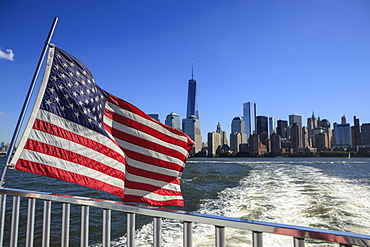 1 World Trade Centre Tower and New York's financial district as seen from the Hudson River, New York, United States of America, North America