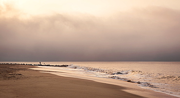 Early morning fisherman on Will Rogers Beach, Pacific Palisades, California, United States of America, North America