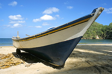 Traditional fishing boat, Playa Medina, Paria Peninsula, Venezuela, South America