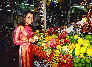 Woman in Ao Dai costume, Ho Chi Minh, Vietnam