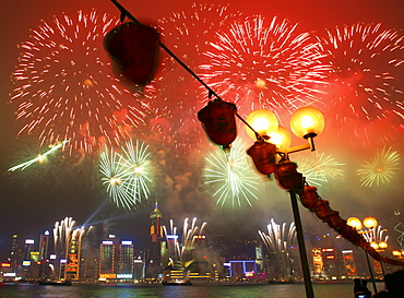 Fireworks in Victoria Harbour during the Chinese new year, Hong Kong