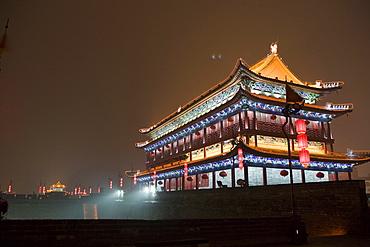 Pavilion of South Gate (Nanmen) at night, Xian, China