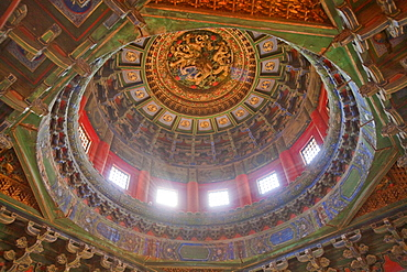 Decorated carving of ceiling, Imperial garden, Forbidden City, Beijing, China