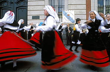 Spaniards in national dress performing outdoors at Plaza de la Puerto del Sol, Centro, Madrid, Spain, Europe
