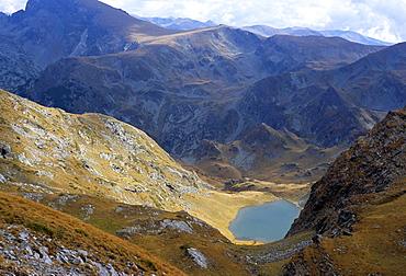 Panicata Lake in valley below Hajduta peak, 2465m, in Rila Mountains, Rila National Park, Bulgaria, Europe