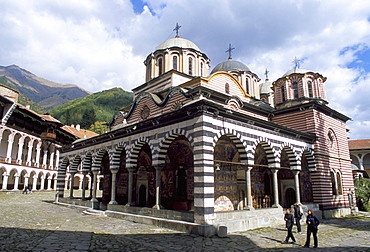 Nativity church in courtyard of Rila monastery, UNESCO World Heritage Site, Rila Mountains, Bulgaria, Europe