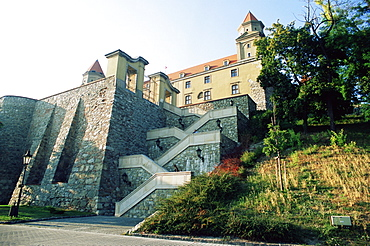 Gothic 15th century castle with section of outer wall, Bratislava, Slovakia, Europe