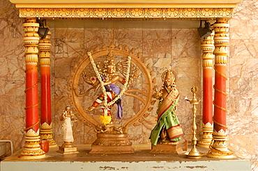 Shrine with Hindu deity, a dancing Shiva, at Sri Maha Mariamman Temple, Kuala Lumpur, Malaysia, Southeast Asia, Asia