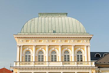 Top of 19th century spa building in the spa town of Frantiskovy Lazne, Karlovarsky Region, West Bohemia, Czech Republic, Europe
