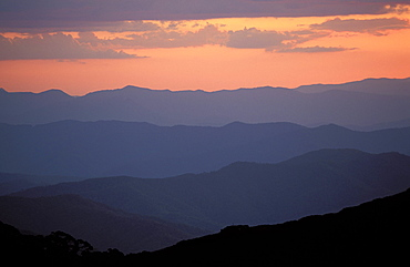 Landscape view, twilight glow and mountain ridges of High Country from Mount Feathertop, Alpine National Park, High Country, Victoria, Australia, Pacific