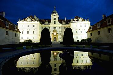 Baroque Valtice Chateau at twilight, Valtice, Brnensko Region, Czech Republic, Europe