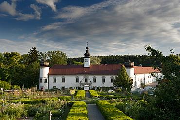 Schiltern Castle from accross Arche Noah bio produce garden, Schiltern, Niederosterreich, Austria, Europe