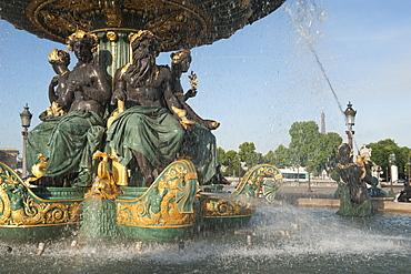 Fountain at Place de la Concorde, Paris, France, Europe