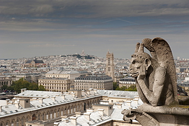 Gargoyle of Gothic Notre Dame Cathedral and the Right Bank with Basilica of Sacre Coeur, Paris, France, Europe