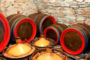 Wooden wine barrels and glass containers at wine cellar, village of Blatnice pod svatym Antoninkem, Brnensko, Czech Republic, Europe