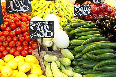 Vegetable display at Nagycsarnok Market, Budapest, Hungary, Europe