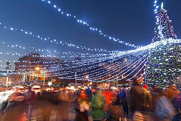 Christmas market, Mir Square, Prague, Czech Republic, Europe
