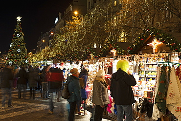 Christmas Market and Christmas tree at Wenceslas Square during Advent evening, Nove Meso, Prague, Czech Republic, Europe