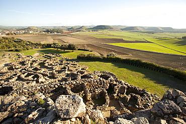 Su Nuraxi di Barumini, the ruins of largest Nuraghi settlement in the island, UNESCO World Heritage Site, Barumini, Sardinia, Italy, Europe