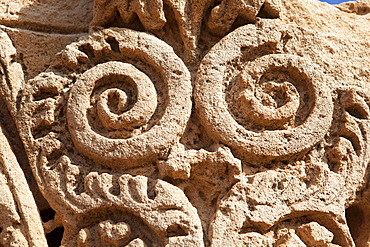 Detail of a column in the bath house, Apollonia, Libya, North Africa, Africa