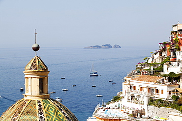 View of Positano with the typical majolica dome of Santa Maria Assunta, Costiera Amalfitana, UNESCO World Heritage Site, Campania, Italy, Europe