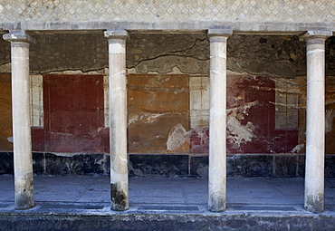 Fresco in the atrium entrance of the Poppea Villa (Villa Poppaea), Oplontis, UNESCO World Heritage Site, Campania, Italy, Europe