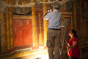 Archeologists and restorers studing the frescos at Poppea Villa (Villa Poppaea), Oplontis, UNESCO World Heritage Site, Campania, Italy, Europe