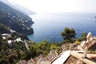 View over the Costiera Amalfitana from Positano cemetery, Costiera Amalfitana, UNESCO World Heritage Site, Campania, Italy, Europe