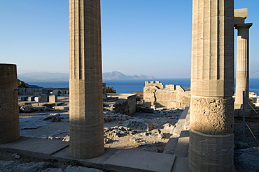 The large Hellenistic Stoa in the acropolis of Lindos, Rhodes, Dodecanese, Greek Islands, Greece, Europe