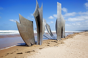 Landing memorial on Omaha beach to D-Day Landing, Normandy, France, Europe