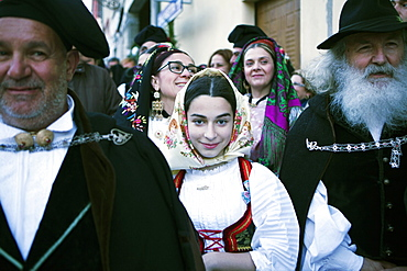 The crowd in traditional dress waiting for the passage of Saint Antioco, Sant'Antioco, Sardinia, Italy, Europe