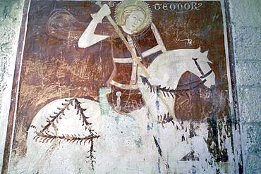 Fresco of St. George in the crypt of the Trani Cathedral, Trani, Puglia, Italy, Europe