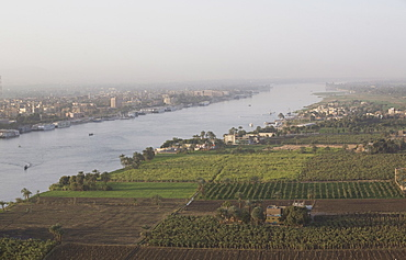 View of the River Nile and the town of Luxor, Egypt, North Africa, Africa