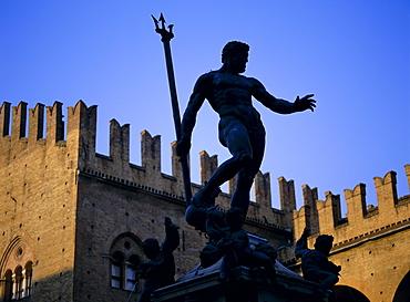 Nettuno (Neptune) statue, Piazza Maggiore, Bologna, Emilia Romagna, Italy, Europe
