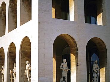 Palazzo della Civilta di Lavoro (square Colosseum), EUR (Esposizione Universale Romana), suburb planned in the 1930s during the time of Mussolini, Rome, Lazio, Italy, Europe