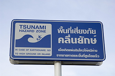 Tsunami warning sign, Patong Beach, Phuket, Thailand, Southeast Asia, Asia
