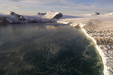Helicopter flight on Huntress Glacier, False Bay, Livingston Island, South Shetland Islands, Antarctica, Polar Regions