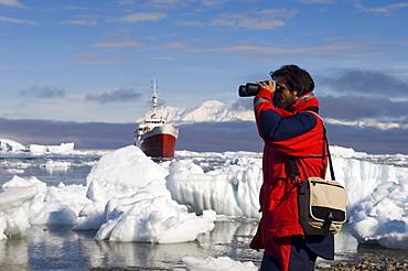 Antarctic Dream ship and Chilean ornithologist Rodrigo Tapia, Neko Harbor, Gerlache Strait, Antarctic Peninsula, Antarctica, Polar Regions