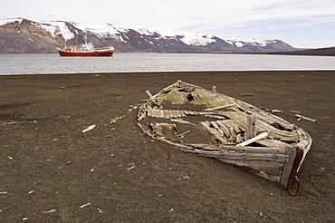 Old whaling boat, Telephone Bay, Deception Island, South Shetland Islands, Antarctica, Polar Regions
