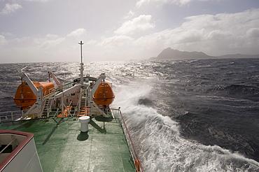 Antarctic Dream navigation on rough seas near Cape Horn, Drake Passage, Antarctic Ocean, Tierra del Fuego, Patagonia, Chile, South America