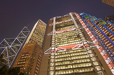 From left to right, the Bank of China Tower, Cheung Kong Centre, Sin Hua Bank, and HSBC Building, Central district, Hong Kong, China, Asia